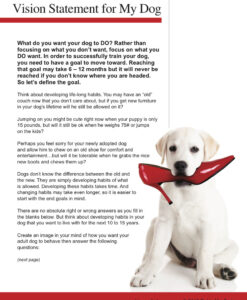 VISION STATEMENT FOR MY DOG | FREE DOWNLOAD